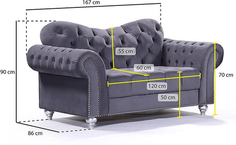 2 Seater Abbey Sofa Size