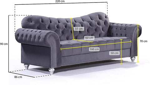 3 Seater Abbey Sofa Size