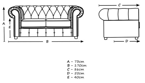 2 seater dimensions