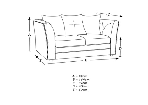 Lincoln 2 Seater sofa Size