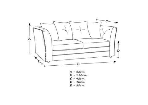 Lincoln 3 Seater Sofa Size