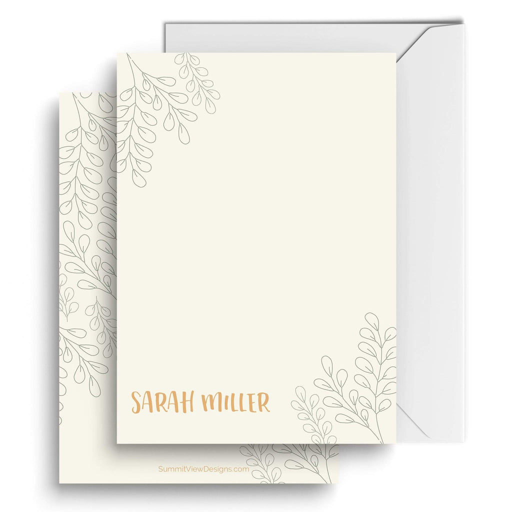 Summit View Designs Sage | Set of 25 Personalized Stationery