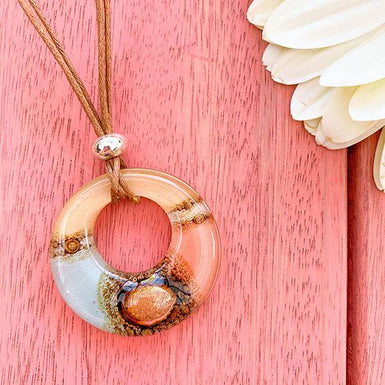 Large light pink Jasper Donut Pendant on  Leather with large Pearl