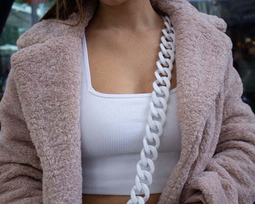 Phone Cord Matte White Chain