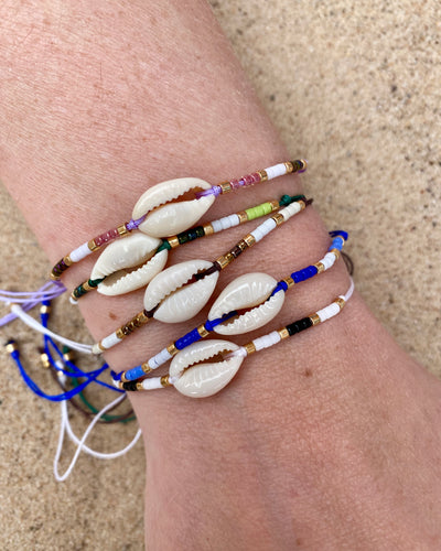 Colourful shell bracelets