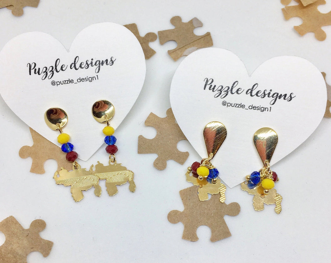 Venezuelan map 18k goldfilled earrings