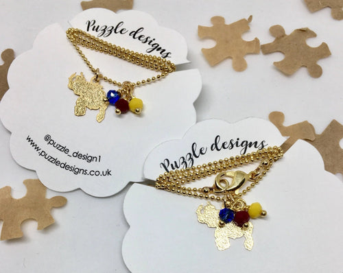 Venezuelan mini map necklace with crystals