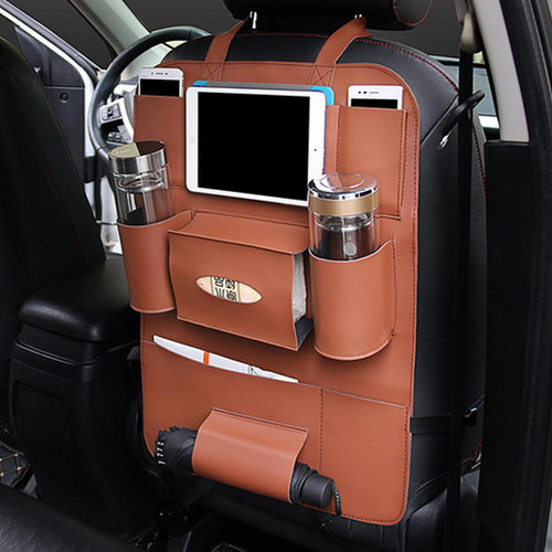 Multi-functional PU  Car's Back Seat Leather Storage Bag