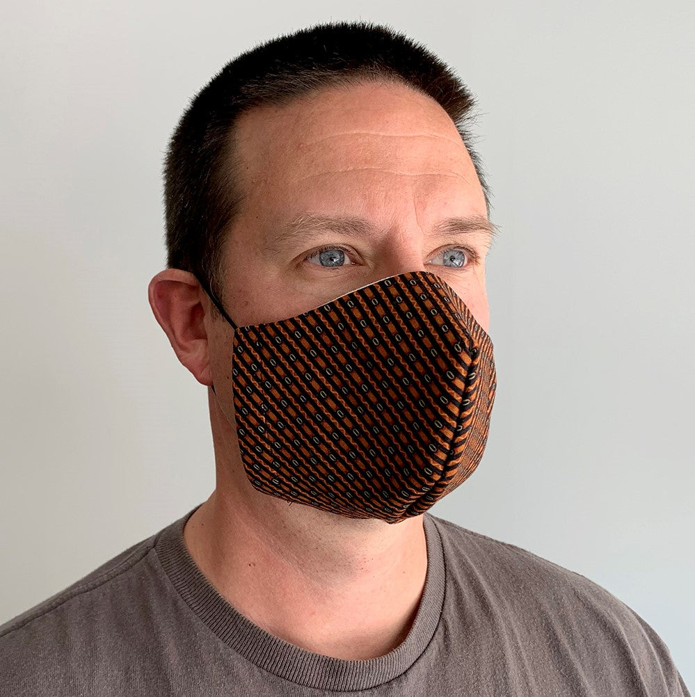 Man wearing medium filtering face mask