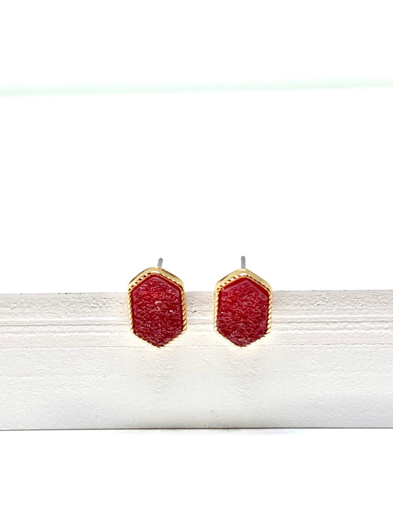 Hexagon Druzy Earring