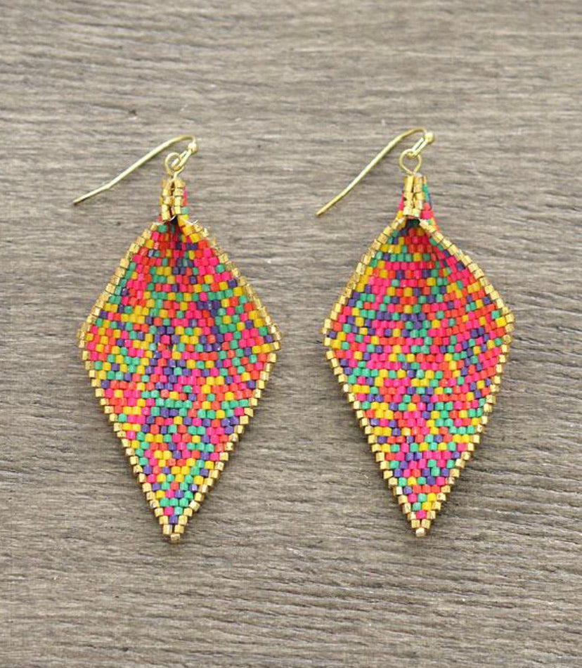Motley Seed Bead Earrings