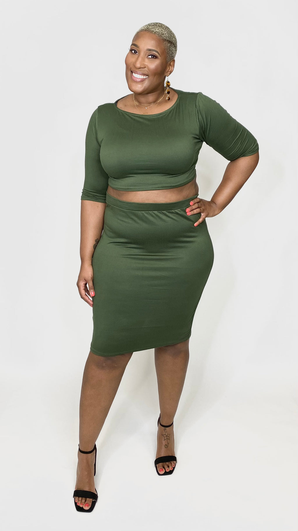 Olive 2-piece Skirt Set