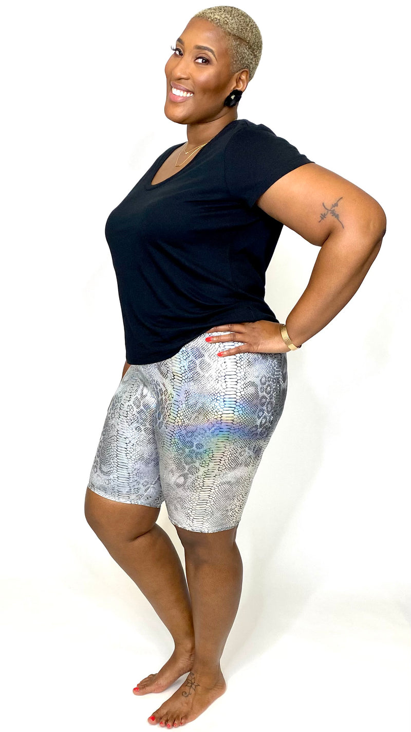 Metallic Animal Print Biker Shorts