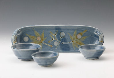 Tray with Three Sauce Bowls by Bluegill Pottery