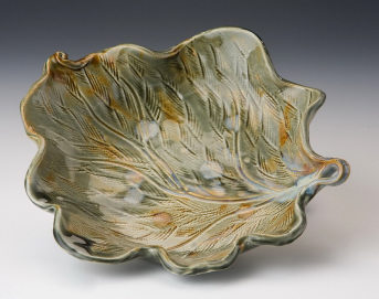 Textured Leaf Bowl by Bluegill Pottery