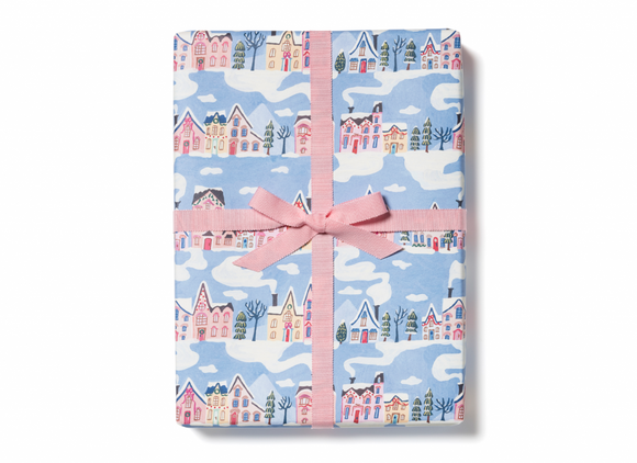 Little Pink Houses Wrapping Paper by Red Cap Cards