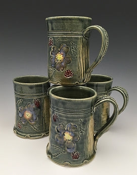Blossom and Basketweave Mug by Bluegill Pottery