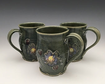 Blossom Mug with Wood-textured Handle by Bluegill Pottery