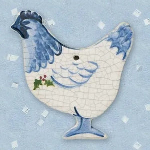 Hen Ceramic Ornament by Mary DeCaprio