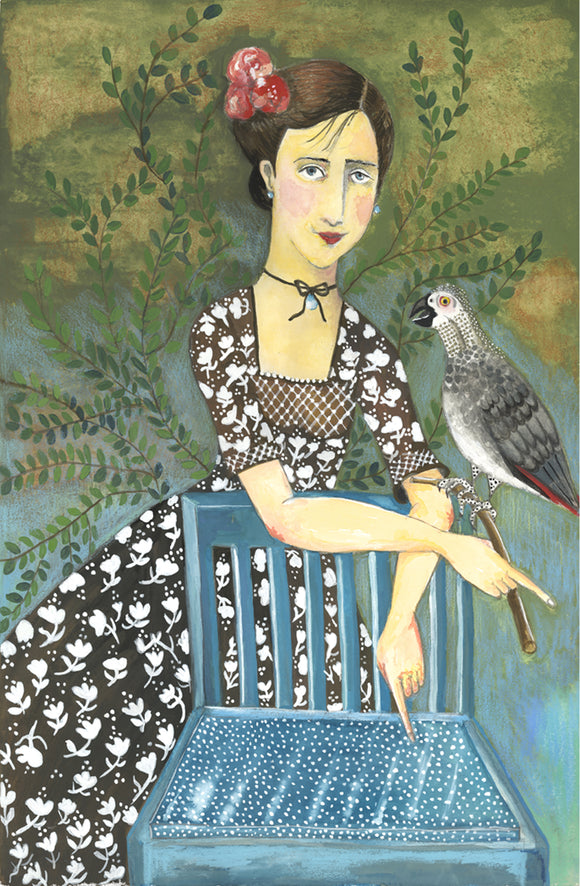 Girl with African Gray Parrot giclee reproduction by Beth Bird