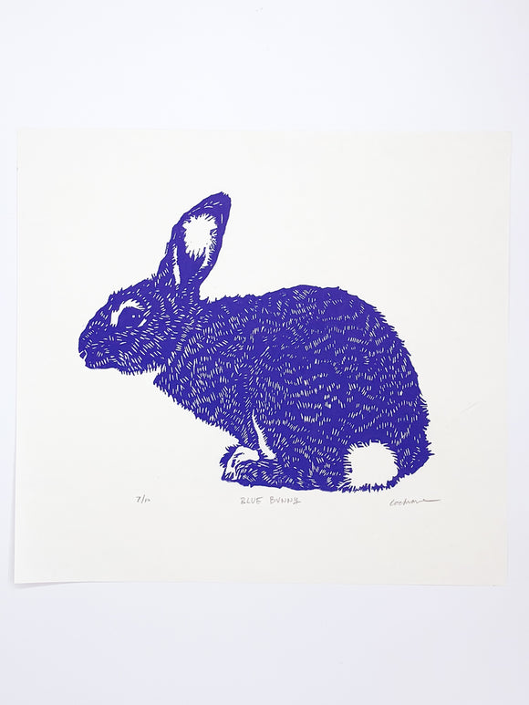 Blue Bunny print by Cary Cochrane