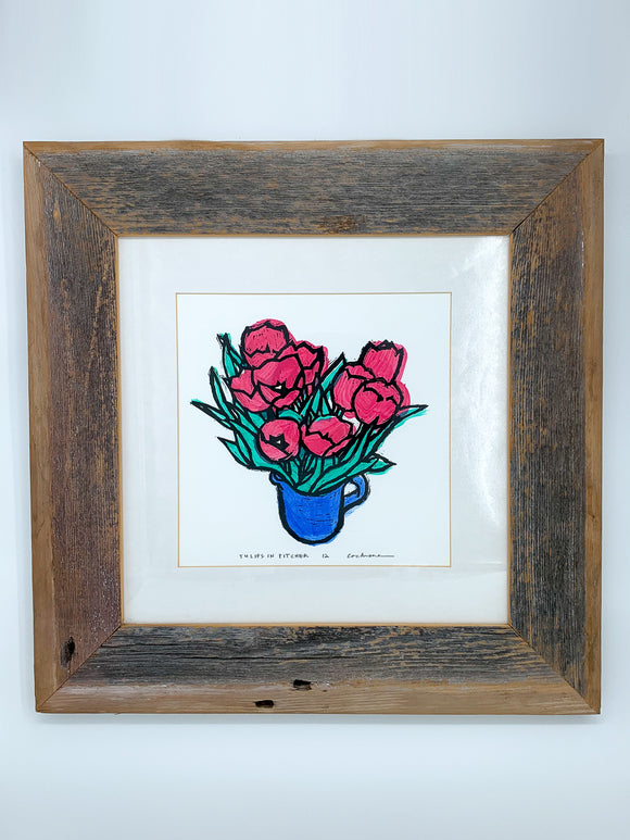 Framed Tulips in Pitcher Print by Cary Cochrane