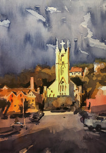 Sunrise in Dubuque Watercolor by Spencer Meagher