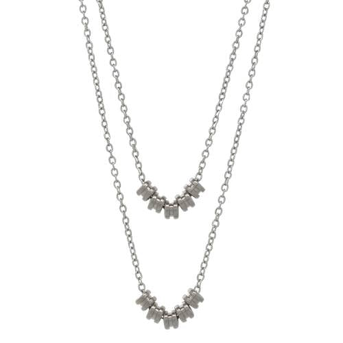 Silver Double-Layer Necklace by High Strung Studio