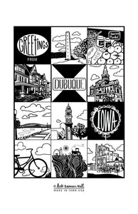 Greetings from Dubuque, Iowa Screen-Printed Dishtowel by Kate Brennan Hall