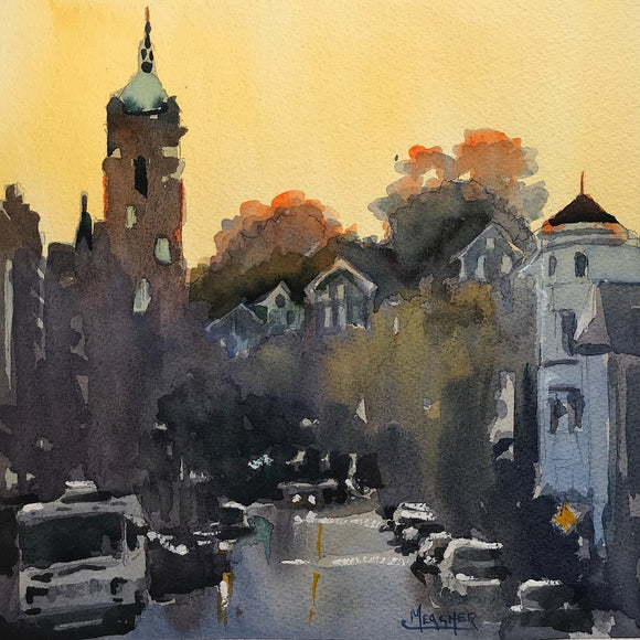 Dusk in Dubuque Watercolor by Spencer Meagher