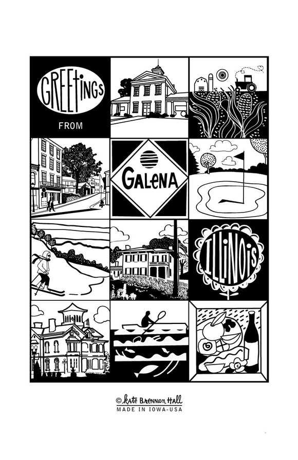 Greetings from Galena, Illinois Screen-Printed Dishtowel by Kate Brennan Hall