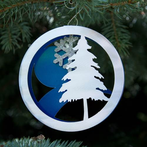 Winter Landscape Ornament by Metal Petal Art