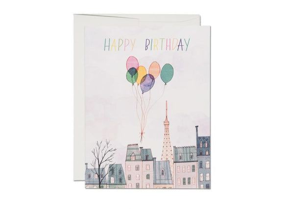 Paris Balloons Birthday Greeting Card from Red Cap Cards