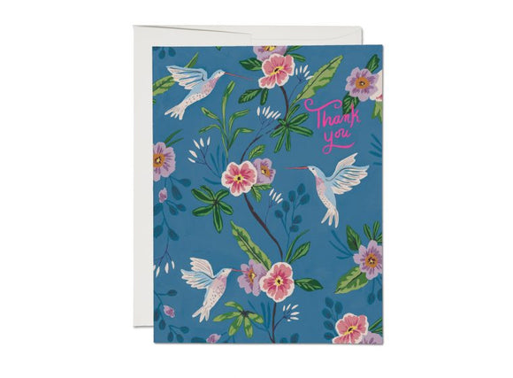 Blue Hummingbird Thank You Greeting Card from Red Cap Cards