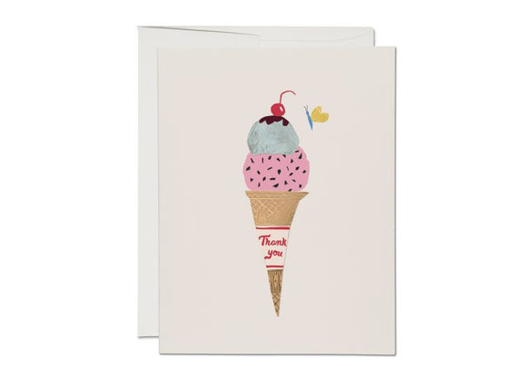 Ice Cream Cone Thank You Greeting Card from Red Cap Cards