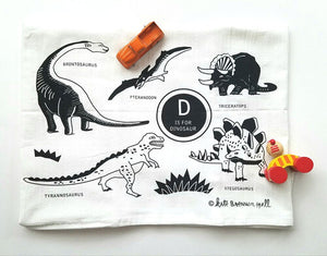 D is for Dinosaur Dishtowel by Kate Brennan Hall