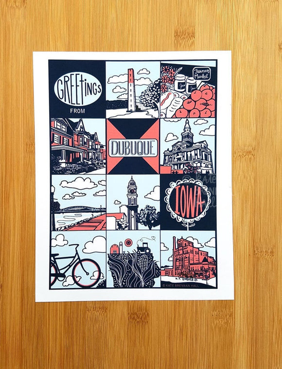 Greetings from Dubuque, Iowa Print by Kate Brennan Hall