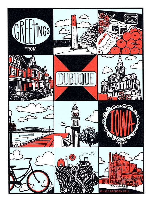 Dubuque, Iowa Postcard by Kate Brennan Hall