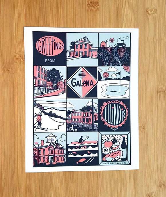Greetings from Galena, Illinois Print by Kate Brennan Hall