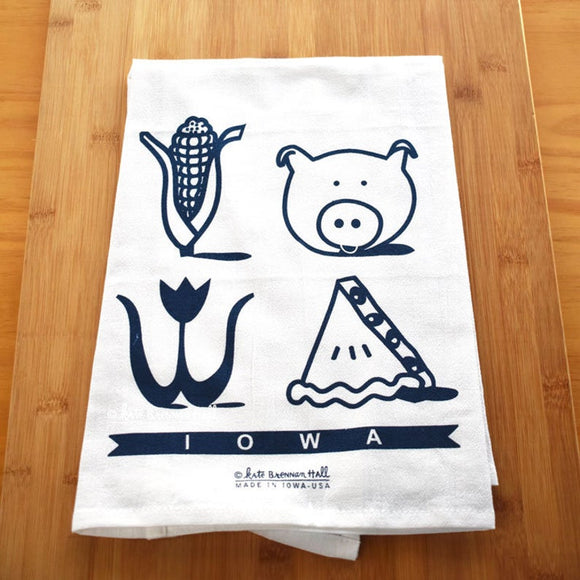 Iowa Icons Tea Towel by Kate Brennan Hall