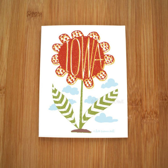 Iowa Red Flower Card by Kate Brennan Hall