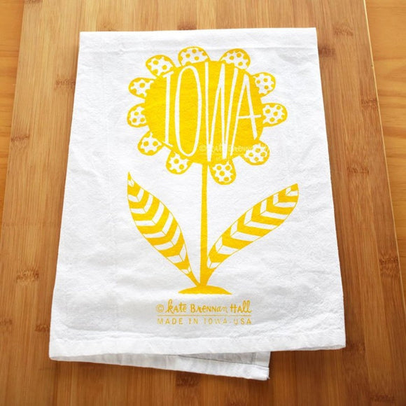 Iowa Yellow Flower Tea Towel by Kate Brennan Hall