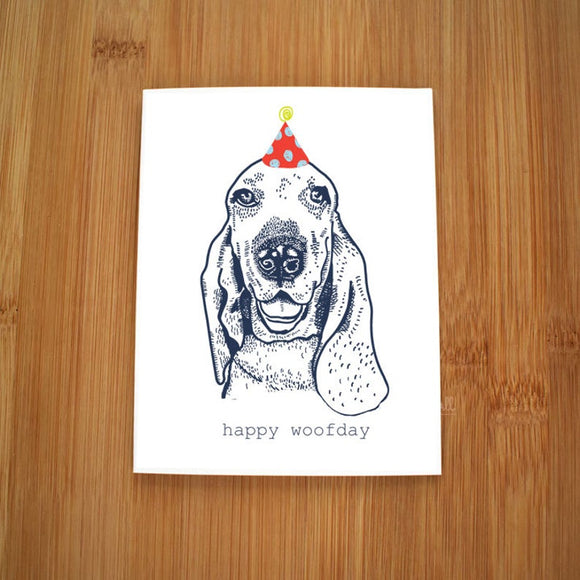 Happy Woofday Basset Hound Card by Kate Brennan Hall
