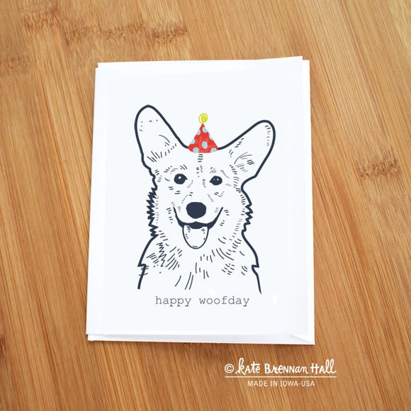 Happy Woofday Corgi Card by Kate Brennan Hall