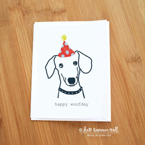 Happy Woofday Dachshund Card by Kate Brennan Hall