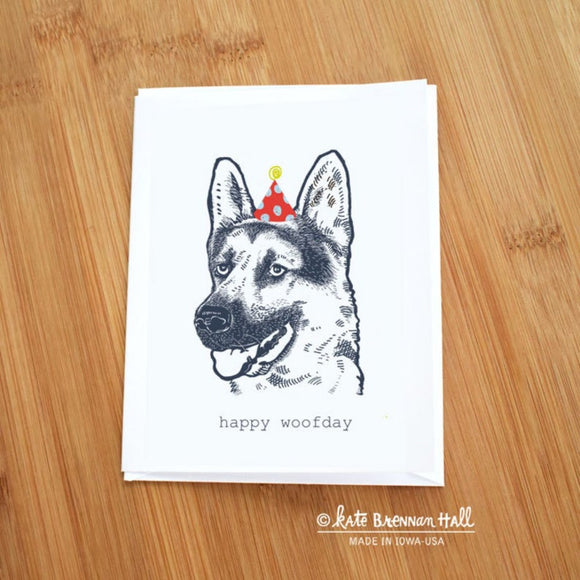 Happy Woofday German Shepherd Card by Kate Brennan Hall