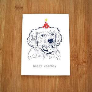 Happy Woofday Golden Retiever Card by Kate Brennan Hall
