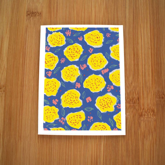 Yellow Dancing Flowers Card by Kate Brennan Hall