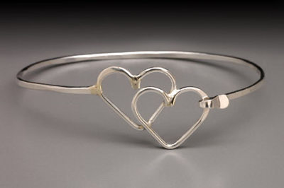 Double Heart Clip Sterling Bracelet by Thomas Kuhner