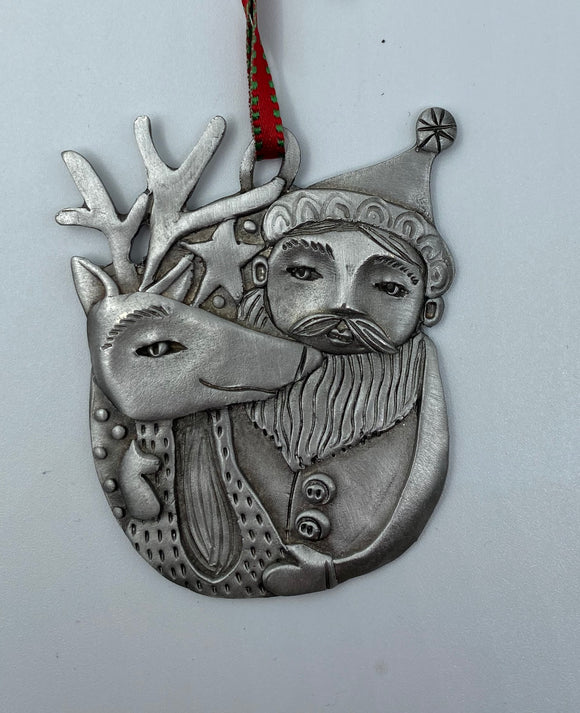 Santa and Reindeer Ornament by Leandra Drumm Designs